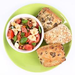 Salad - farfalle, tomato, salami, pepper, mozzarella and rolls