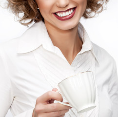 business woman with cup