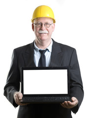 Construction worker showing laptop isolated screen