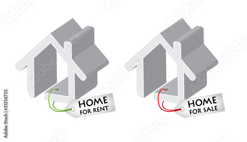 Real estate design elements, house for sale and rent with banner