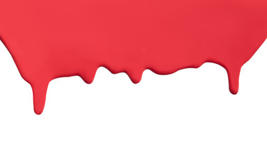 Flowing red paint drip