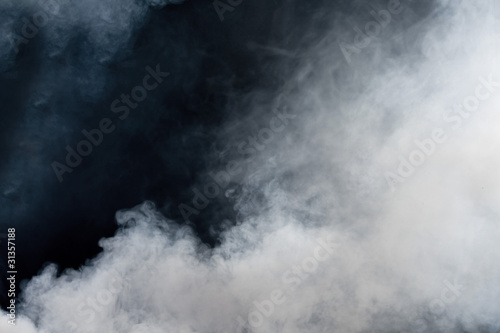 White smoke on black background. Isolated. - 31357188