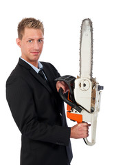 Young business man with chainsaw