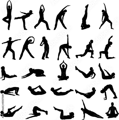 silhouettes of girl exercising - vector