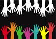 mani colorate e bianche