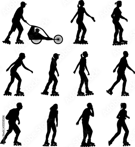 rollerskating silhouettes collection - vector