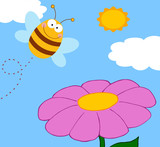 Bee Cartoon Character Flying Over Flower Raster Illustration