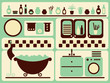 Bath room and bathing objects set. Vector illustration.