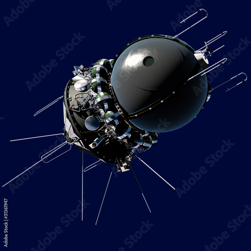 The first spaceship isolated on blue background