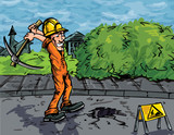 Cartoon of labourer using a pick axe poster