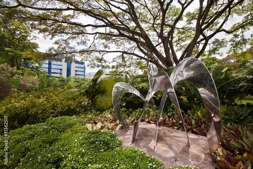 Aluminium Singapore sculpture in garden