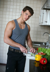 Young Sexy Man Preparing Salad