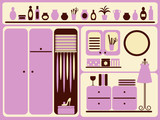 Wardrobe room interior and objects set. Vector illustration.