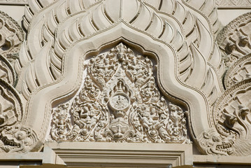 Bas-relief  roof at new Khmer pagoda.