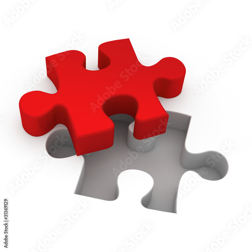 Puzzle Teil rot