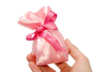 sacchettino di raso rosa