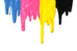 CMYK paint dripping