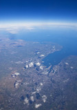 High altitude view of coastline. Belfast, Northern Ireland. poster