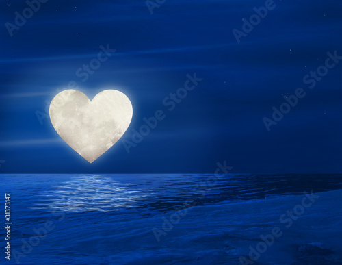 heart moon over lake