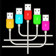 color set of four usb isolated on black background