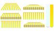 yellow awnings set isolated on white