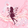 Fairy girl on a romantic floral background