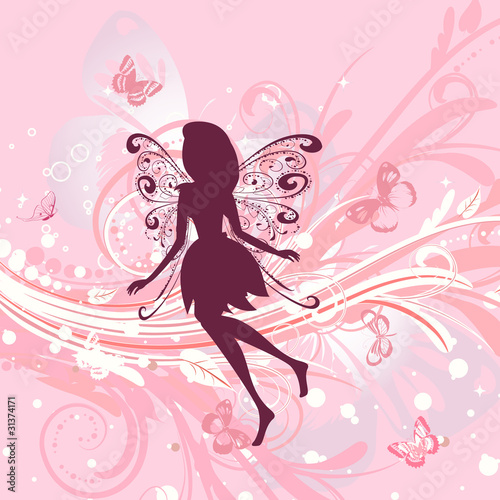 Fototapeta Fairy girl on a romantic floral background