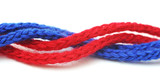 red and blue synthetic ropes