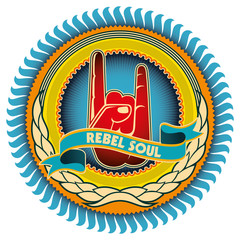 Illustrated colorful rebel emblem with retro elements.