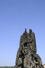 Statue on Charles Bridge in Prague Czech Republic