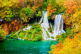 Fototapety Waterfall in Autumn Forest