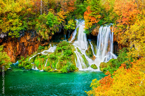obraz PCV Waterfall in Autumn Forest