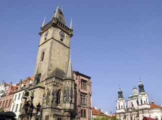 Town Hall and clock in Prague Capital of the Czech Republic