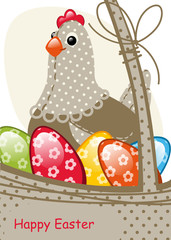 chicken and egg Easter. Happy Easter card