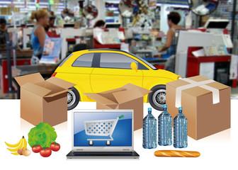 courses au supermarché en drive