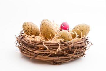 Korb gefüllt mit einem bunten und anderen Eiern für Ostern