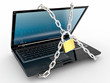 Laptop with chains and lock on white isolated background
