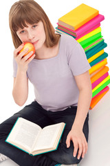 girl with  open book in lap