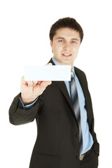 Business man handing a blank business card
