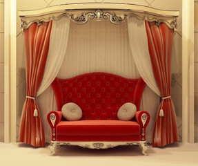 Red velvet curtain and royal sofa