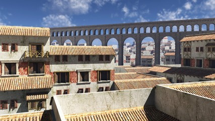 View Over Ancient Roman Rooftops