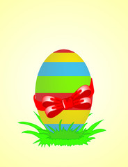 Easter egg decorated with red ribbon. Vector illustration