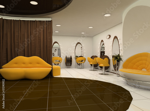 Interior of luxury beauty salon. Sofa lips