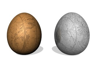 Golden and silver easter eggs