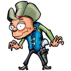 Cartoon cowboy with a gun belt and cowboy hat