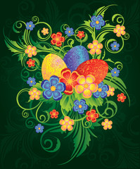 Easter banner with spring flowers and eggs, vector illustration