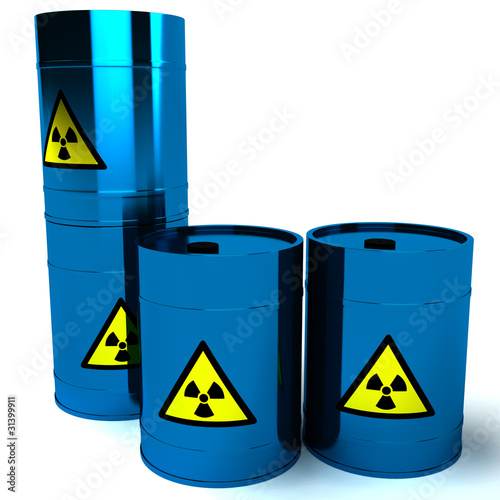3d blue barrel radioactive waste
