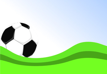 vector football poster with soccer ball and green grass