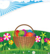 Easter basket on the morning lawn