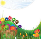 Easter basket on a green meadow